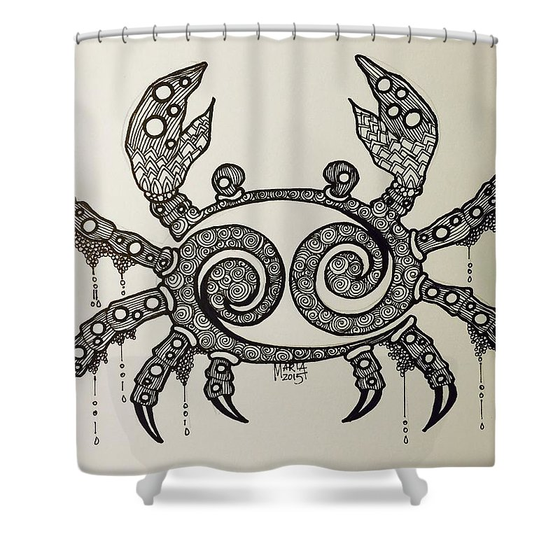 Cancer Zodiac Shower Curtain featuring the drawing Cancer by Maria Leah Comillas