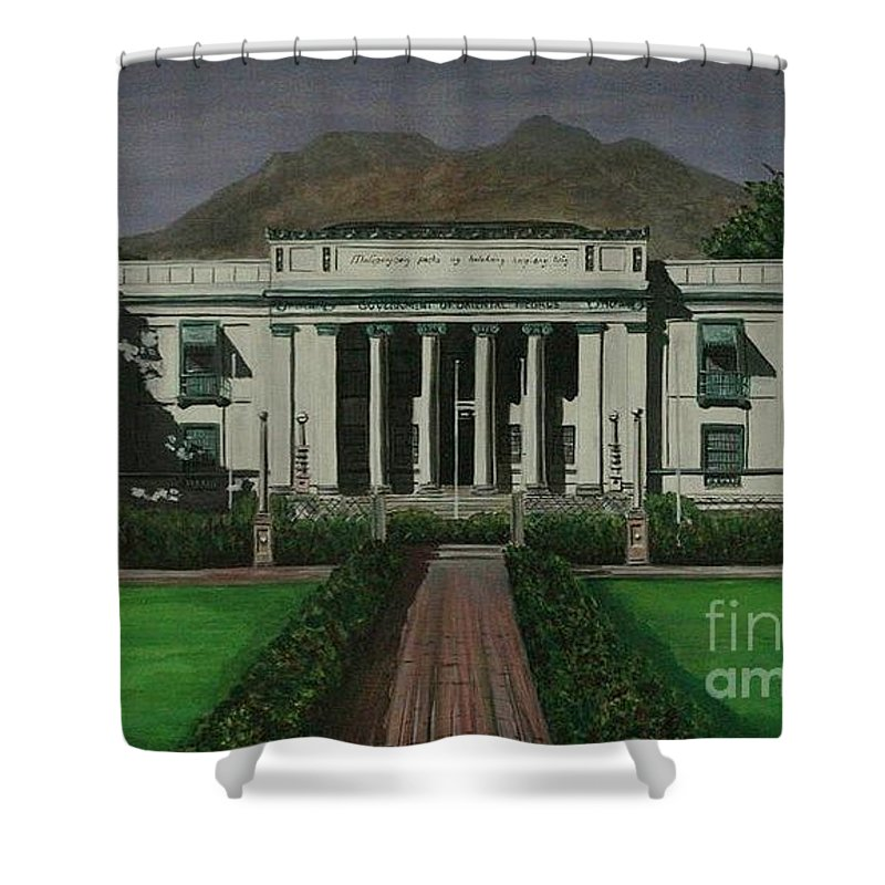 Dumaguete Shower Curtain featuring the painting Capitol Building Negros Oriental by Richard John Holden RA