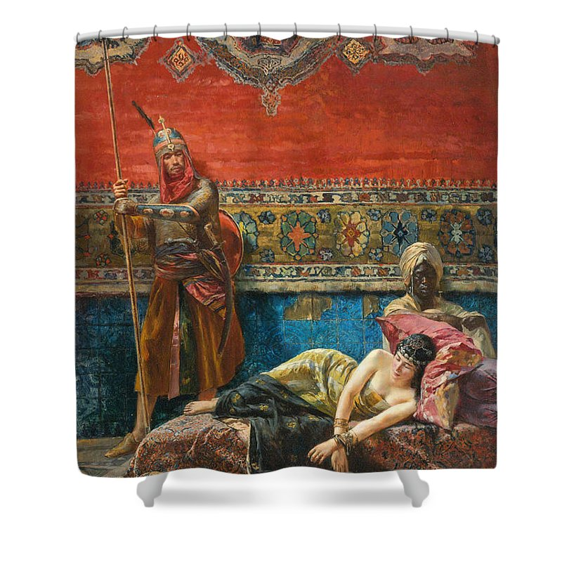 Ferencz Eisenhut Shower Curtain featuring the painting Captive In The Harem by Ferencz Eisenhut