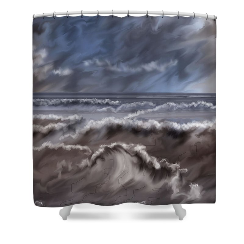 Seascape Shower Curtain featuring the painting Caramel Seas by Anne Norskog