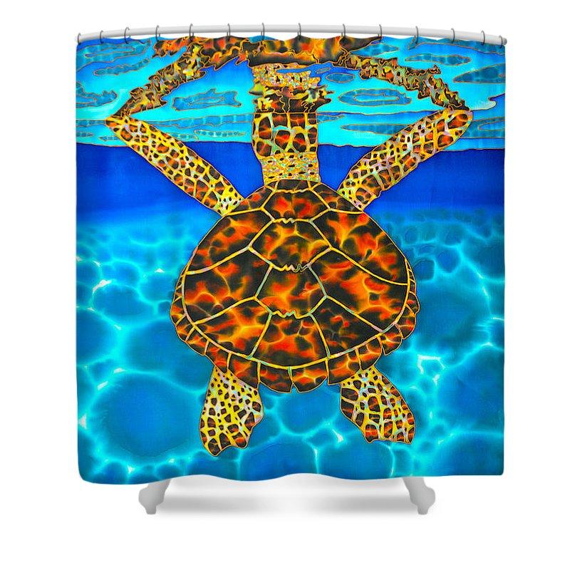 Batik Shower Curtain featuring the painting Caribbean Hawksbill Sea Turtle by Daniel Jean-Baptiste