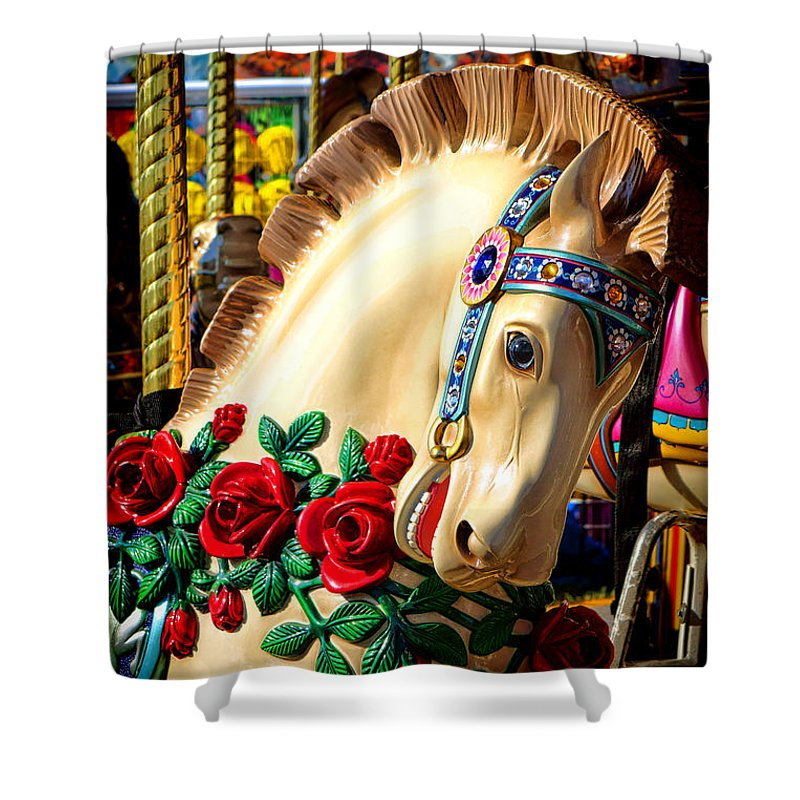 Merry Shower Curtain featuring the photograph Carousel Horse by Olivier Le Queinec