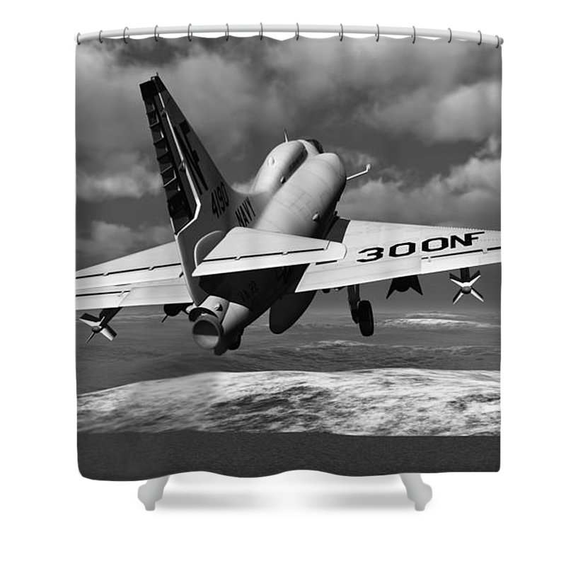 Aviation Shower Curtain featuring the digital art Carrier Launch by Richard Rizzo