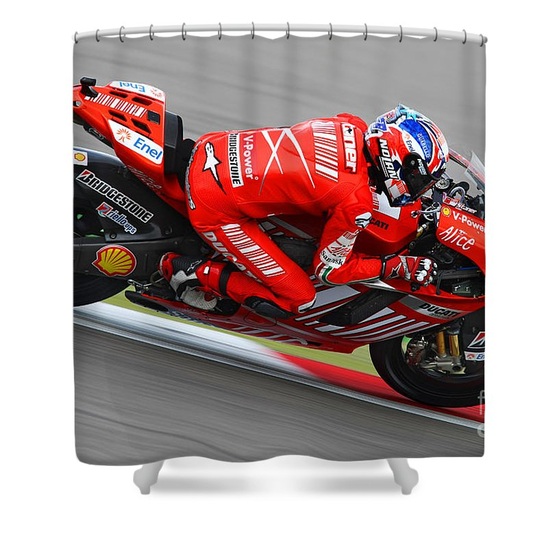 Netherlands Shower Curtain Featuring The Photograph Casey Stoner By Henk Meijer Photography