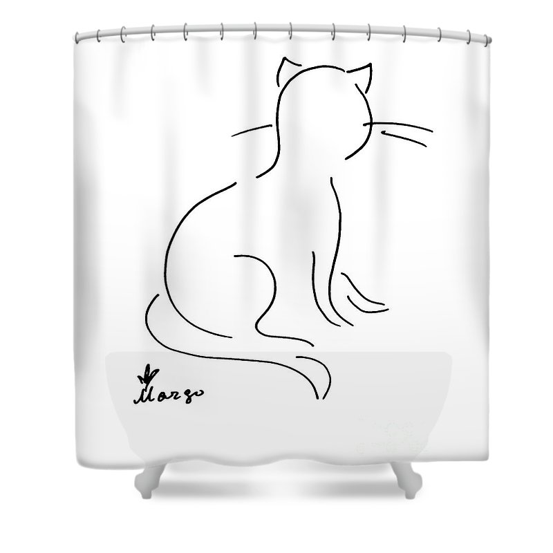 Line Shower Curtain featuring the drawing Cat by Margarita Basalyga