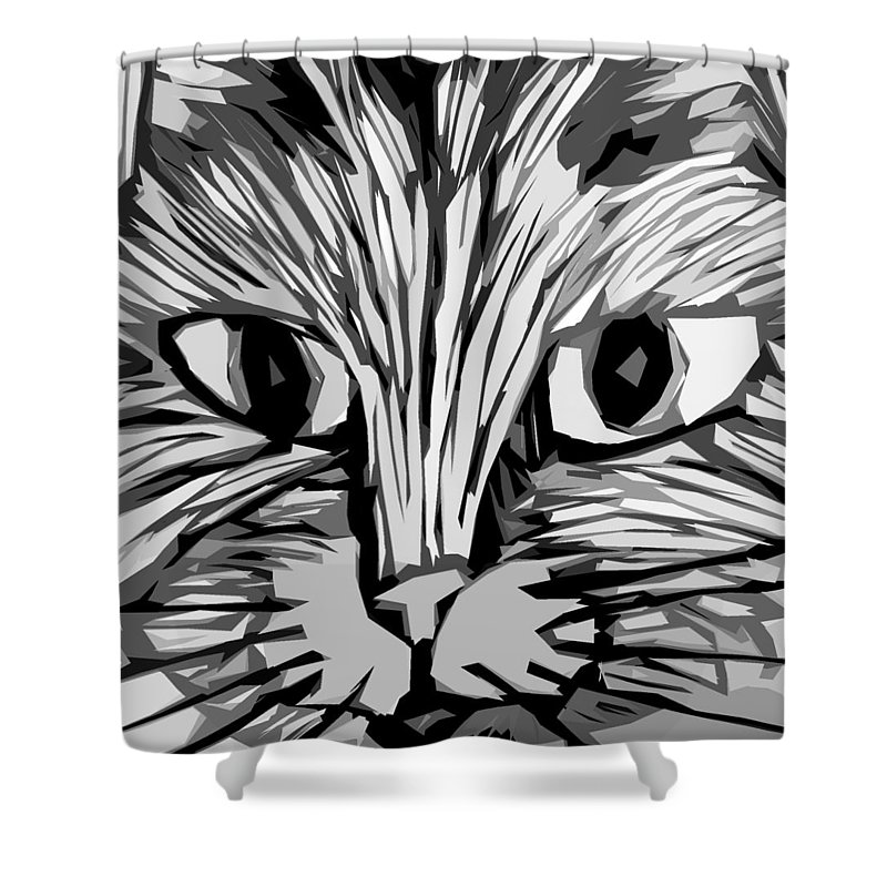 Cats Shower Curtain featuring the digital art Cat by Michelle Calkins