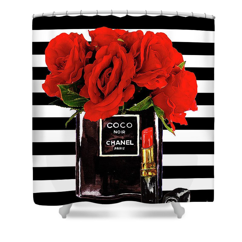 Chanel Print Shower Curtain Featuring The Mixed Media Perfume With Red Roses By Del Art