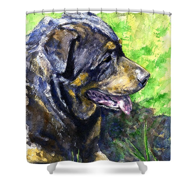 Rottweiler Shower Curtain featuring the painting Chaos by John D Benson