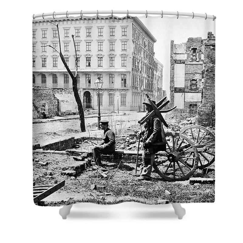 1865 Shower Curtain featuring the photograph Charleston Ruins, 1865 by Granger