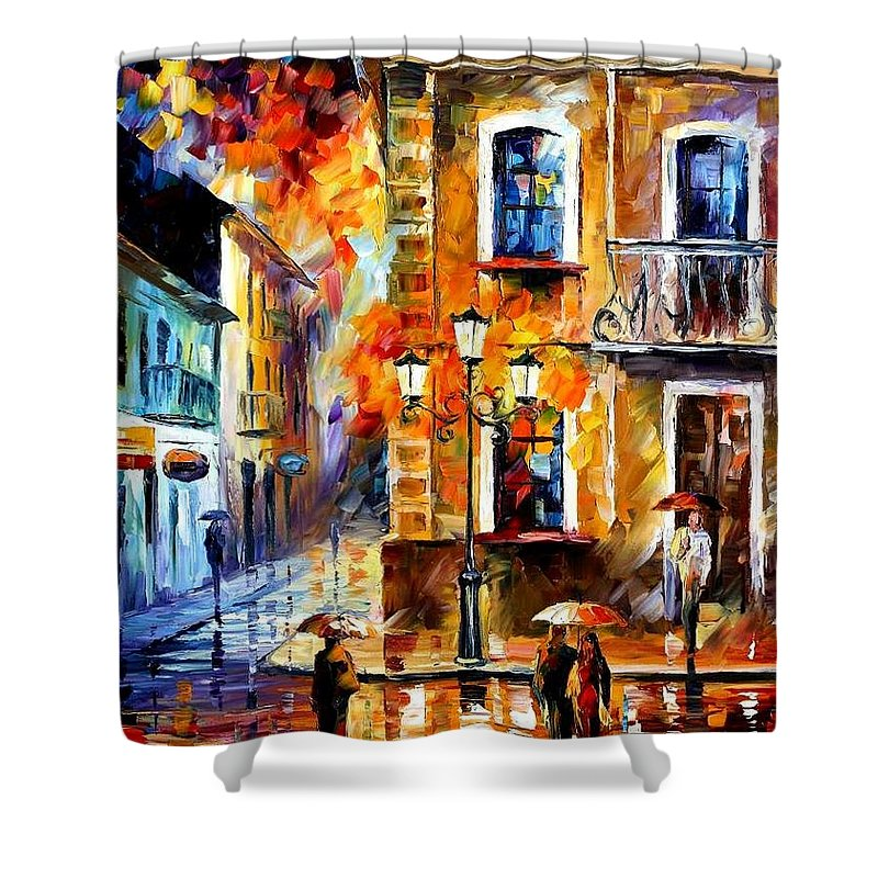 Afremov Shower Curtain featuring the painting Charming Night by Leonid Afremov