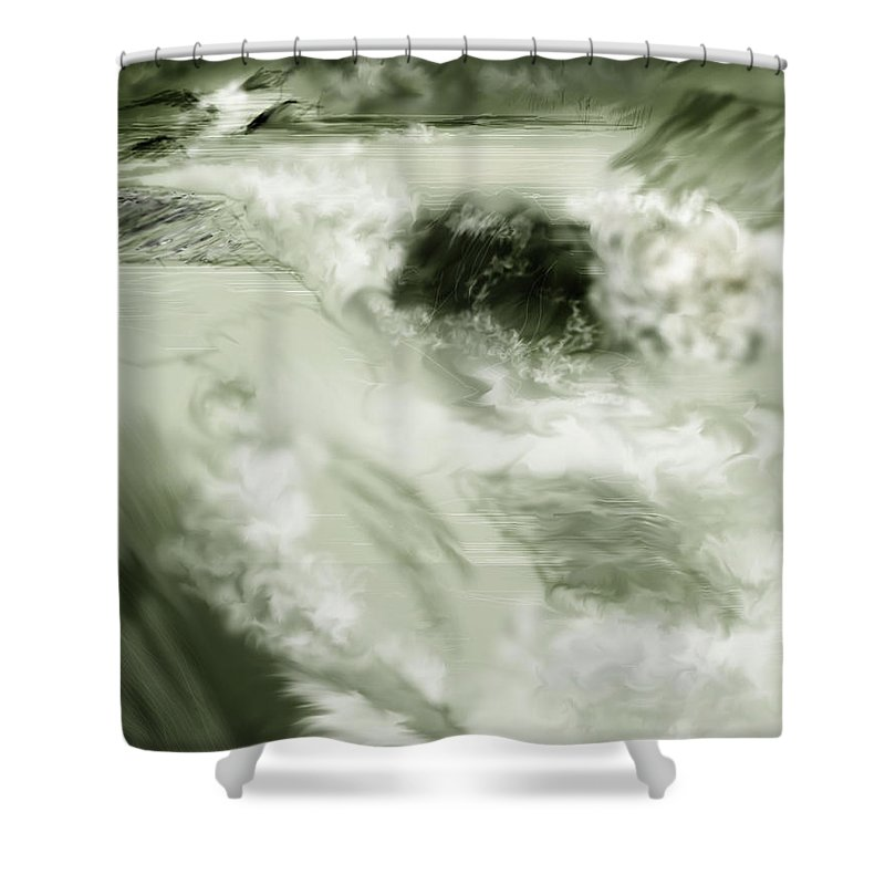 White Water Landscape Shower Curtain featuring the painting Cherry Creek White Water by Anne Norskog