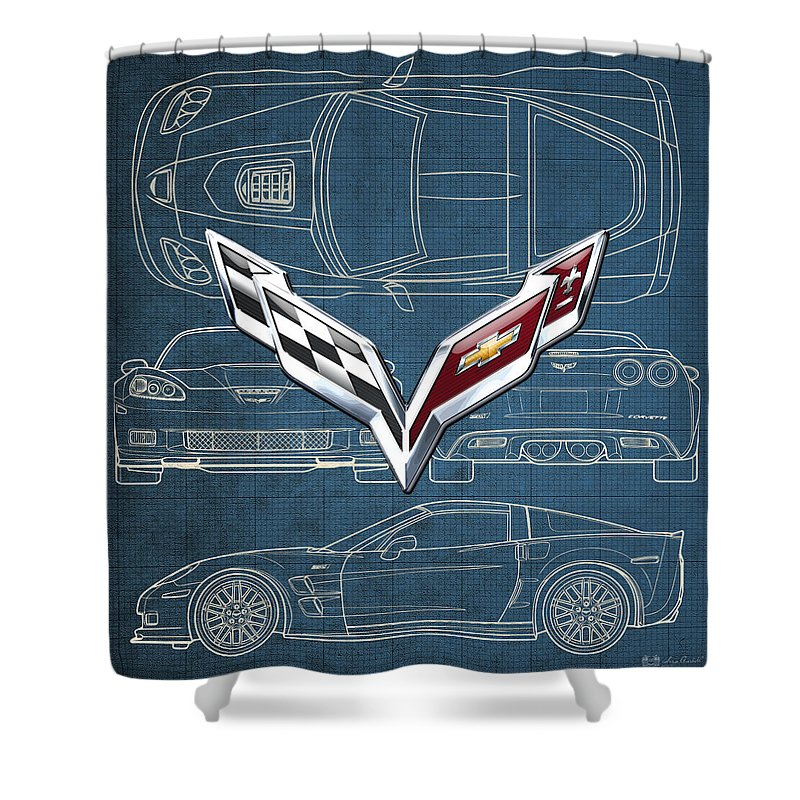�wheels Of Fortune� By Serge Averbukh Shower Curtain featuring the photograph Chevrolet Corvette 3 D Badge Over Corvette C 6 Z R 1 Blueprint by Serge Averbukh