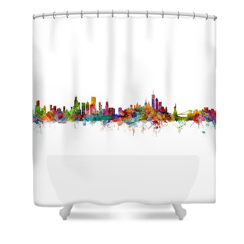 Chicago Shower Curtain Featuring The Digital Art And New York City Skylines Mashup By Michael