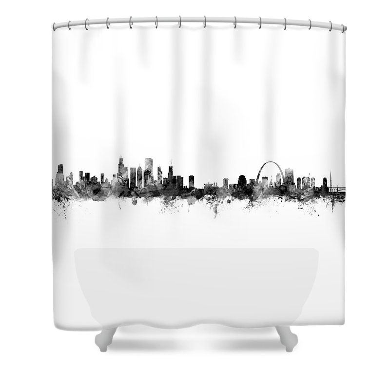Chicago And St Louis Skyline Mashup Shower Curtain For Sale By Michael Tompsett
