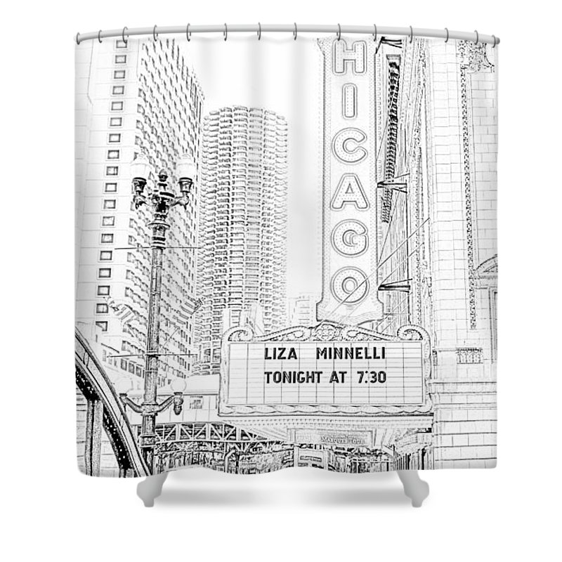 Chicago Theater Marquee Shower Curtain featuring the photograph Chicago Theater Marquee by Ely Arsha