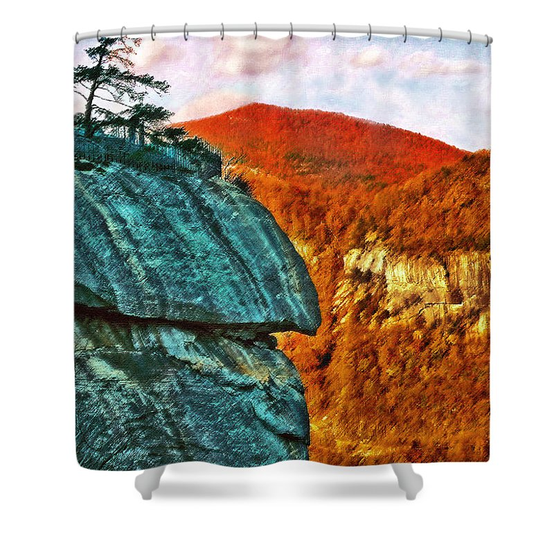 Landscape Shower Curtain featuring the painting Chimney Rock by Steve Karol