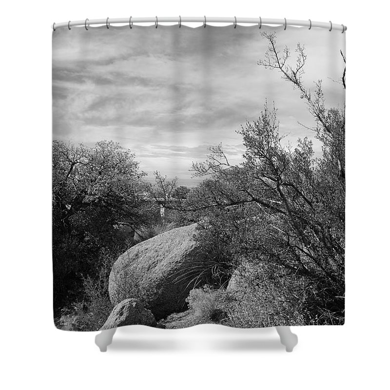 Black And White Shower Curtain featuring the photograph Cibola National Forest by Rob Hans