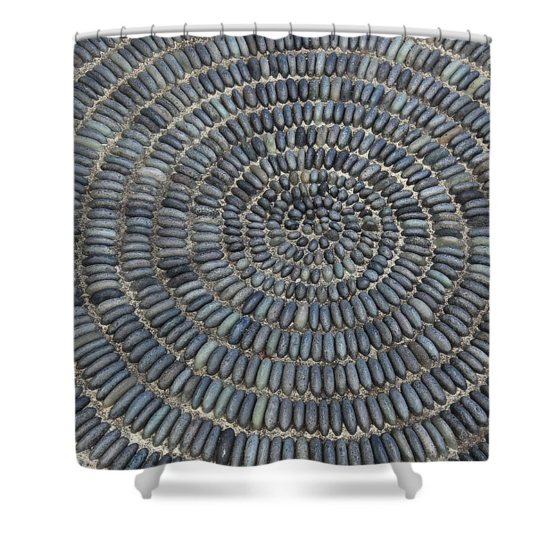 Palma Shower Curtain featuring the photograph Circle Of Stones by Heinz Tschanz-Hofmann