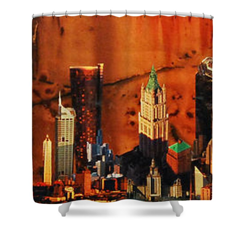 City Shower Curtain featuring the painting City Life by Lauren Luna
