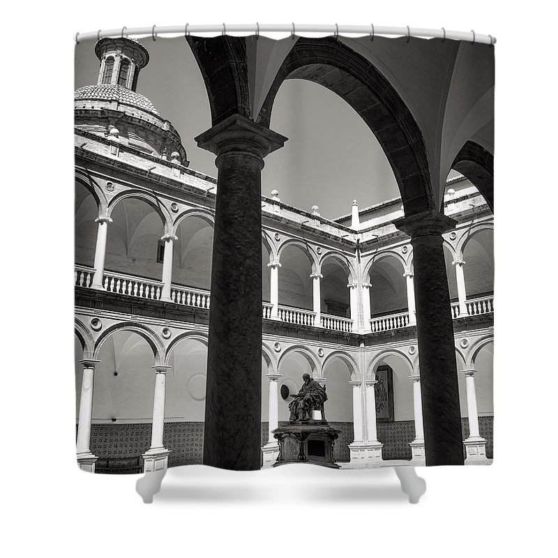 Cloister Shower Curtain featuring the photograph Cloister Real Colegio Seminario Del Corpus Christi by For Ninety One Days