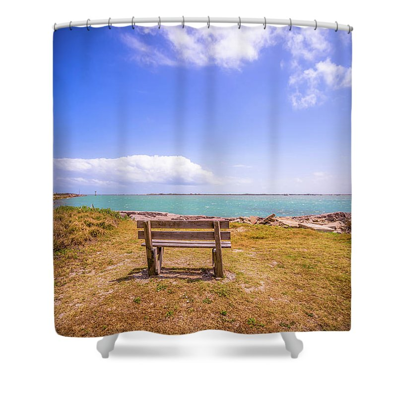 Beach Shower Curtain featuring the photograph Coastal Landscape Near Padre Island Texas by Alex Grichenko