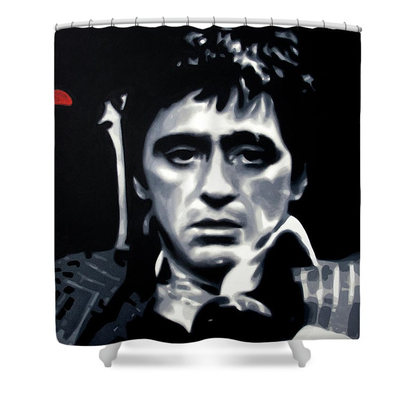 Scarface Shower Curtain Featuring The Painting Cocaine By Hood Alias Ludzska