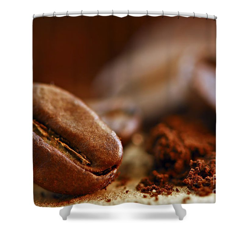 Coffee Shower Curtain featuring the photograph Coffee Beans And Ground Coffee 1 by Elena Elisseeva