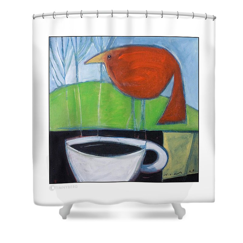 Bird Shower Curtain featuring the painting Coffee With Red Bird by Tim Nyberg