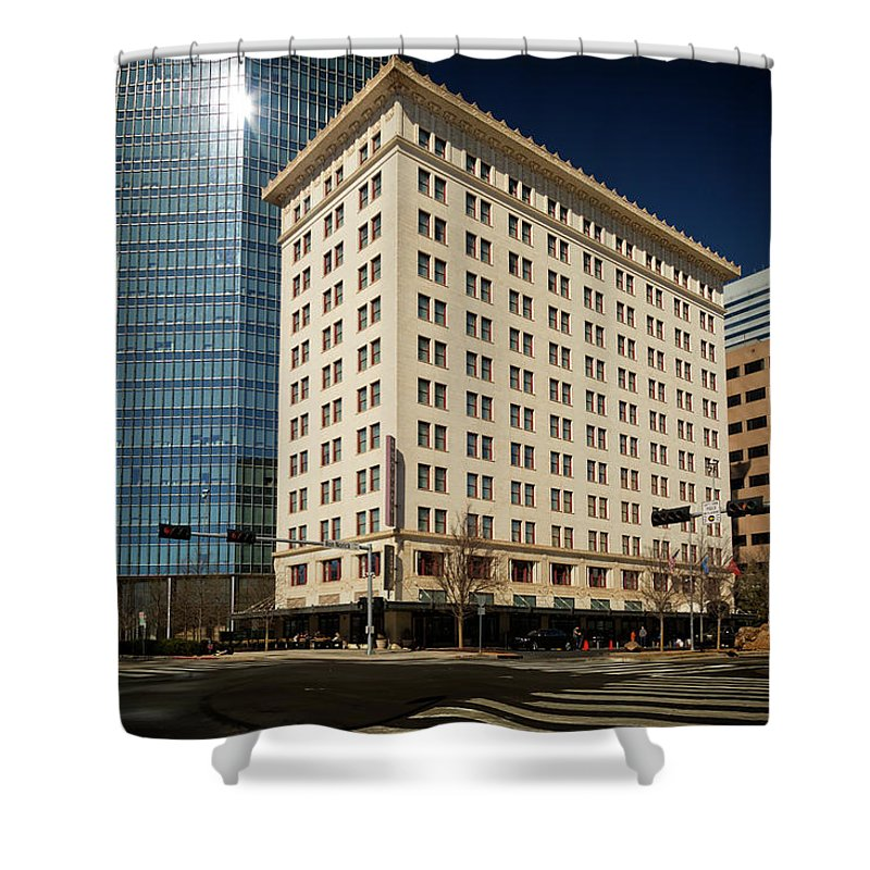 Okc Shower Curtain featuring the photograph Colcord by Ricky Barnard