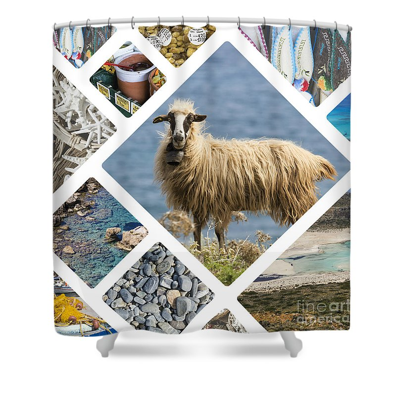 Aegean Shower Curtain featuring the photograph Collage Of Crete by Mariusz Prusaczyk