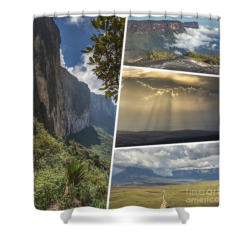 Outdoor Shower Curtain featuring the photograph Collage Of Table Mountain Roraima by Mariusz Prusaczyk