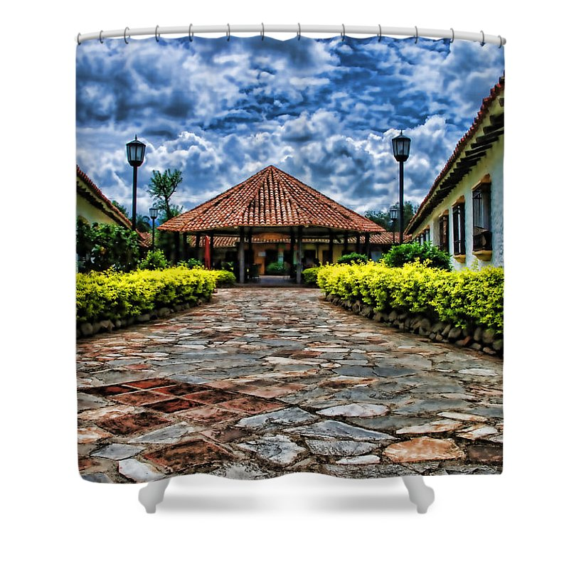 Colonial Shower Curtain featuring the photograph Colonial House by Galeria Trompiz