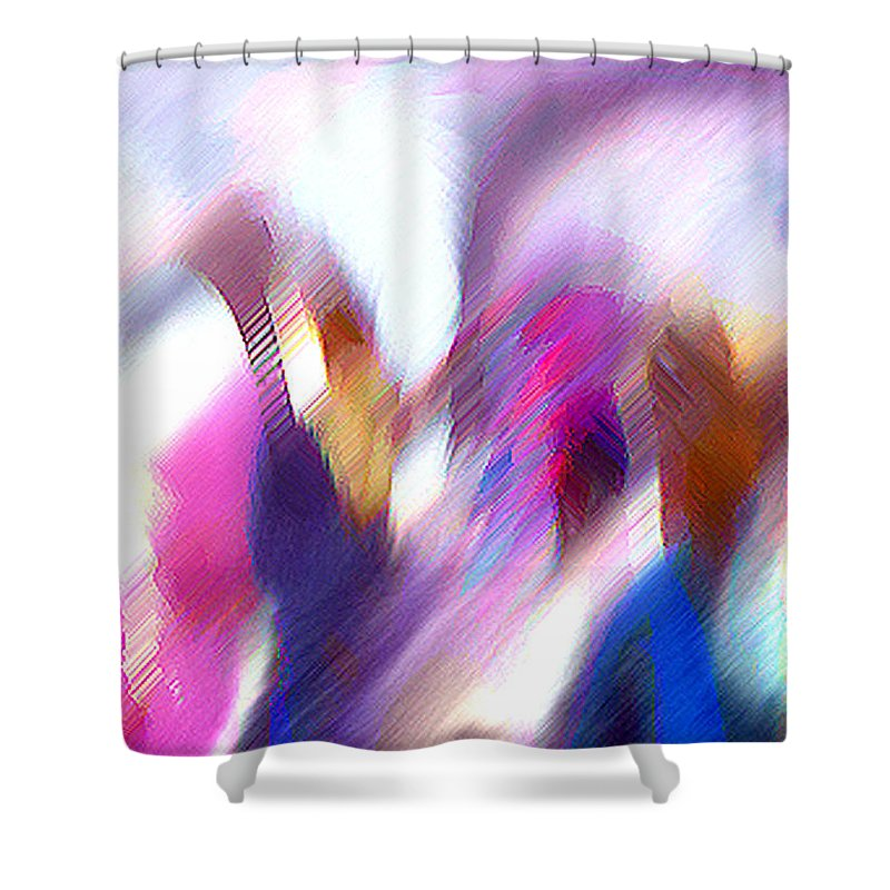 Digital Media Shower Curtain featuring the painting Color Dance by Anil Nene