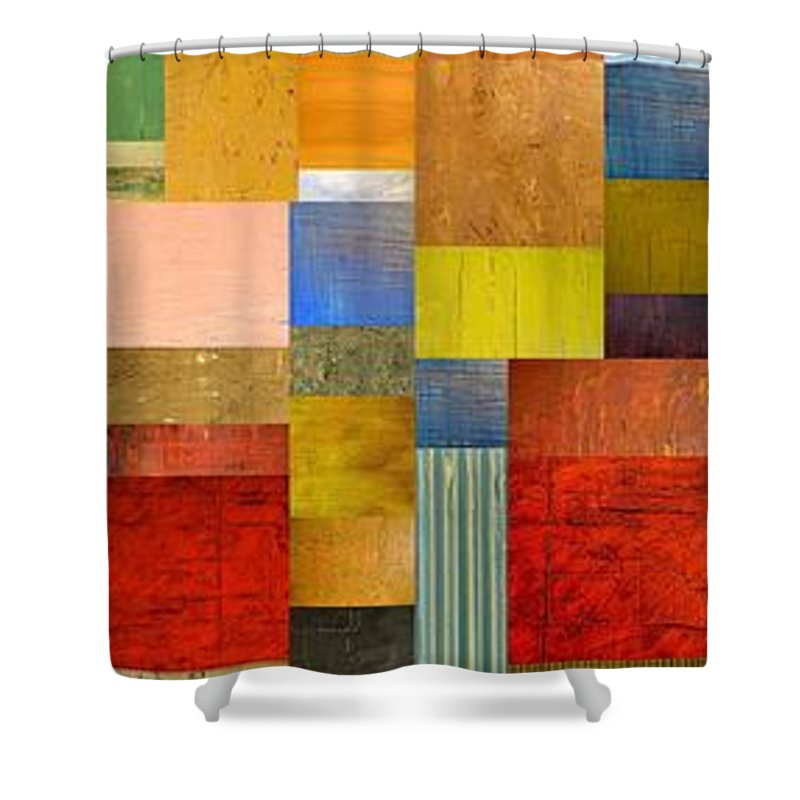 Skinny Shower Curtain featuring the painting Color Panels With Green Grass by Michelle Calkins