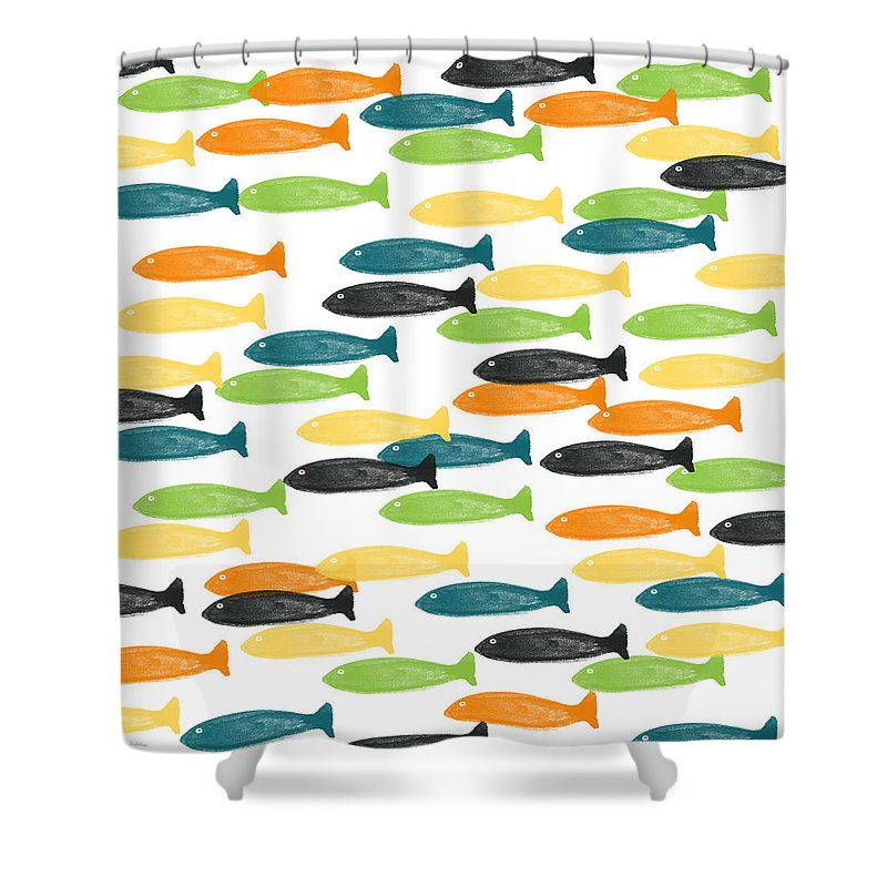 Fish Shower Curtain Featuring The Painting Colorful Fish By Linda Woods