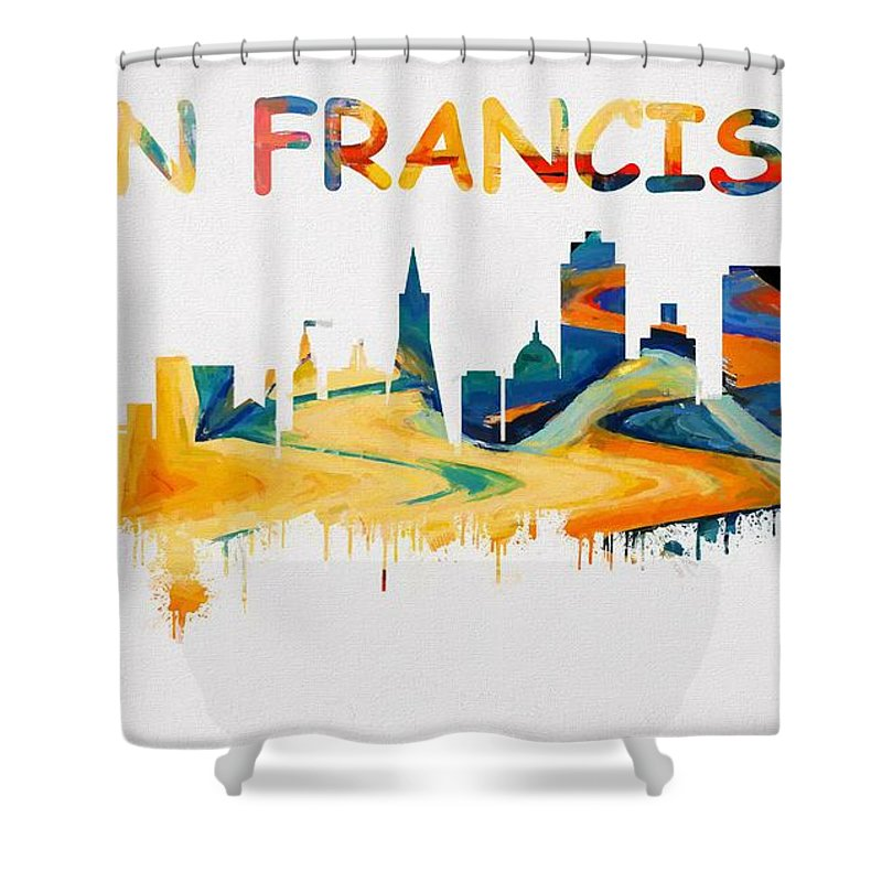 Colorful San Francisco Skyline Silhouette Shower Curtain Featuring The Painting Two
