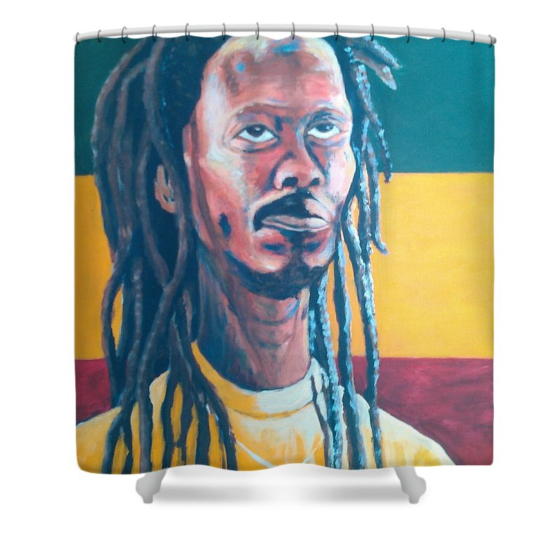 Rasta Portrait Shower Curtain featuring the painting ColorPS by Andrew Johnson