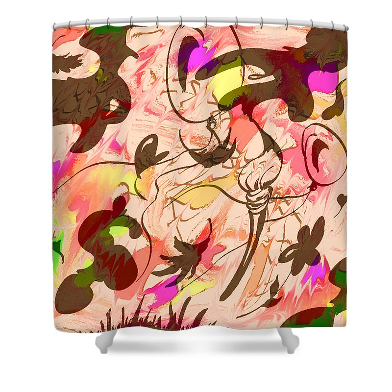 Abstract Shower Curtain featuring the digital art Colors In The Wind by Rachel Christine Nowicki