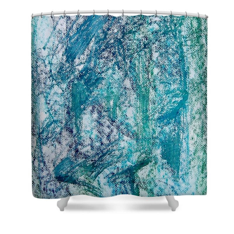 Fareeha Khawaja Shower Curtain featuring the pastel Confounded by Fareeha Khawaja