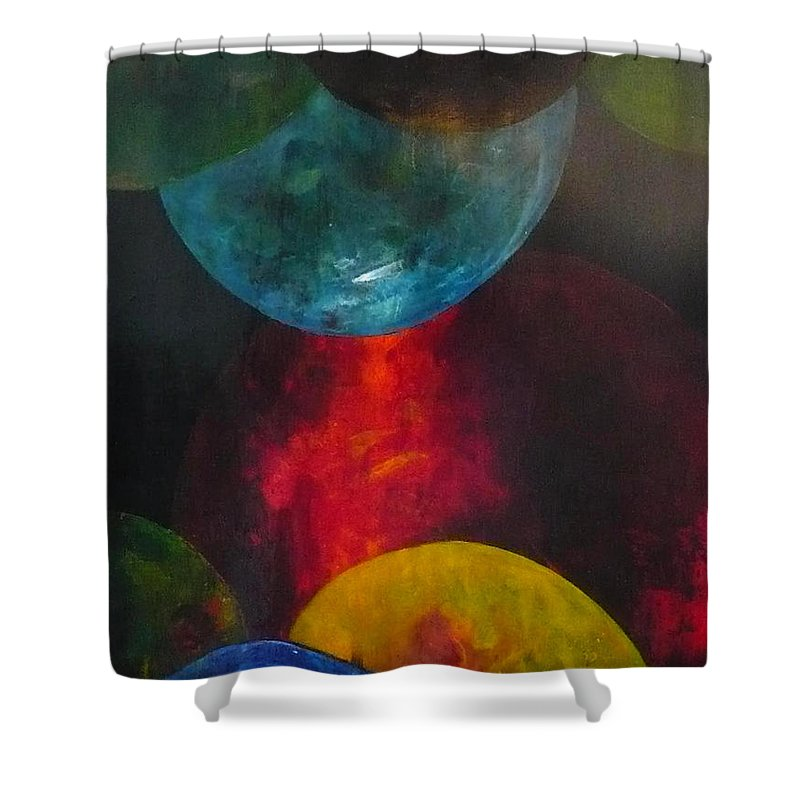 World Shower Curtain featuring the painting Converging Worlds by Janice Nabors Raiteri