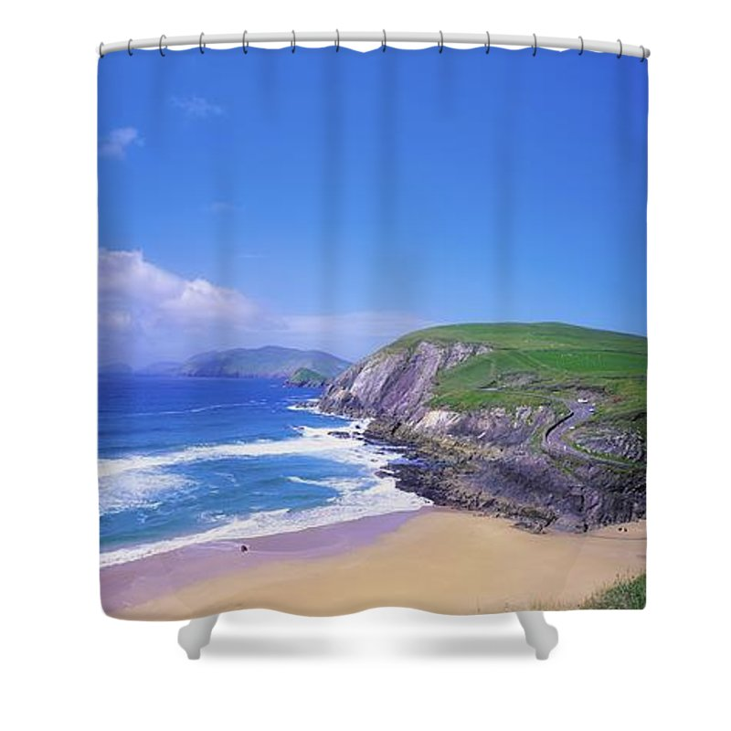 Beach Shower Curtain featuring the photograph Coumeenoole Beach, Dingle Peninsula, Co by The Irish Image Collection