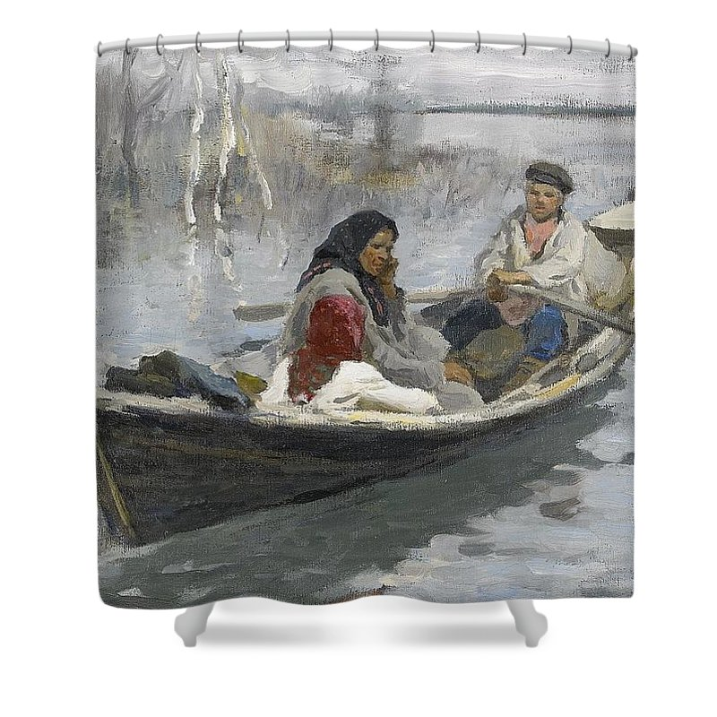Alexei Stepanovich Stepanov Russia 1858 1923 Couple In A Rowing Boat Shower Curtain Featuring The