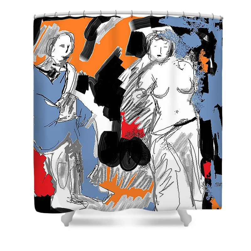 Couples Shower Curtain featuring the drawing Couple by Samuel Zylstra