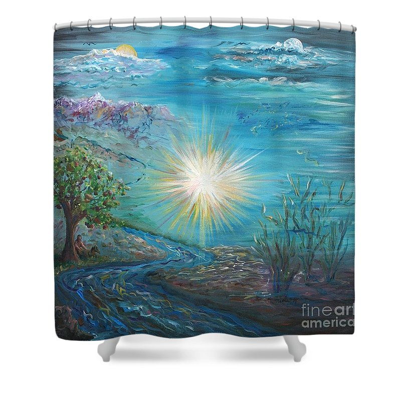 Creation Shower Curtain featuring the painting Creation by Nadine Rippelmeyer