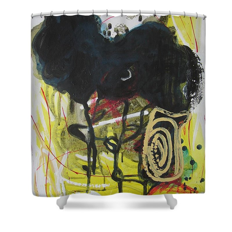 Abstract Paintings Shower Curtain featuring the painting Crescent2 by Seon-Jeong Kim