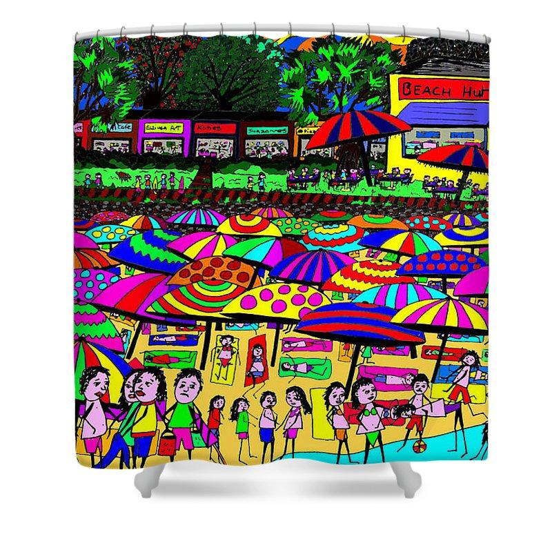 Beach Shower Curtain featuring the digital art Crowded Beach by Karen Elzinga