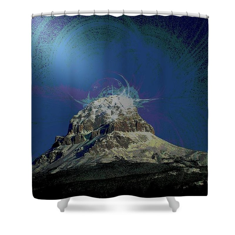 Abstract Shower Curtain featuring the photograph Crowsnest Mountain by Jeff Swan