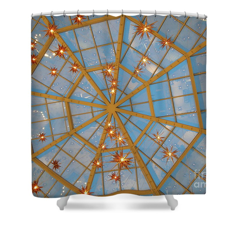 Glass Shower Curtain featuring the photograph Crystal Web by Maria Bonnier-Perez