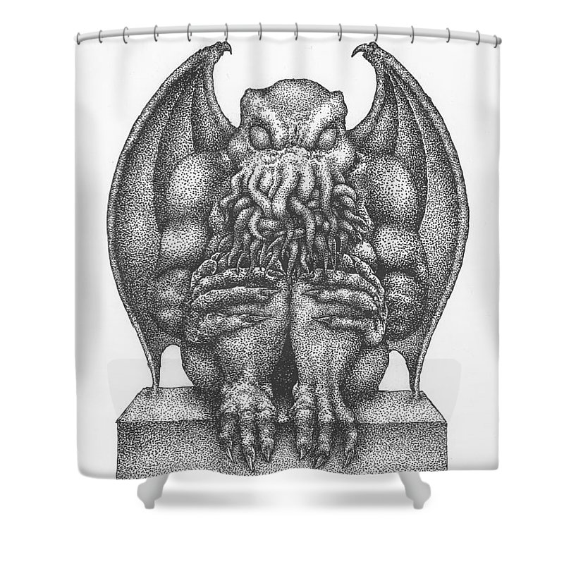 Cthulhu Shower Curtain Featuring The Drawing Idol By Dan Moran