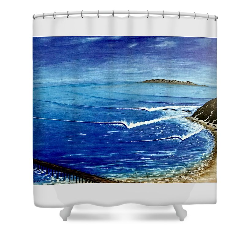 Danapoint Shower Curtain featuring the painting Dana Point 1950s 1 by Paul Carter